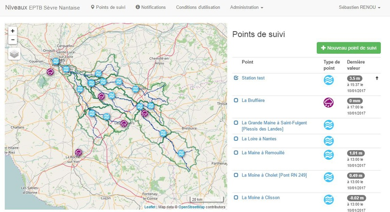 Page principale de l'outil web de suivi des niveaux d'eau